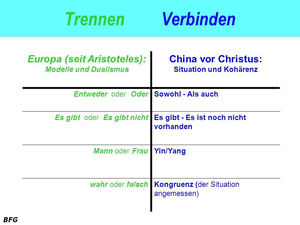 BFG Trennen Verbinden Europa (seit Aristoteles): Modelle und Dualismus China vor Christus: Situation und Kohärenz Entweder oder OderSowohl - Als auch