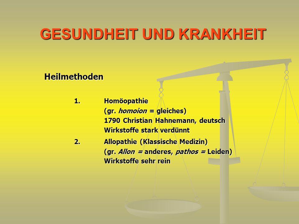 GESUNDHEIT UND KRANKHEIT Heilmethoden 1.Homöopathie (gr. homoion = gleiches) 1790 Christian Hahnemann, deutsch Wirkstoffe stark verdünnt 2.Allopathie