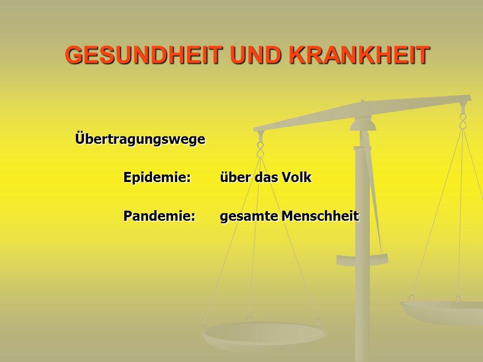 GESUNDHEIT UND KRANKHEIT Übertragungswege Epidemie:über das Volk Pandemie:gesamte Menschheit