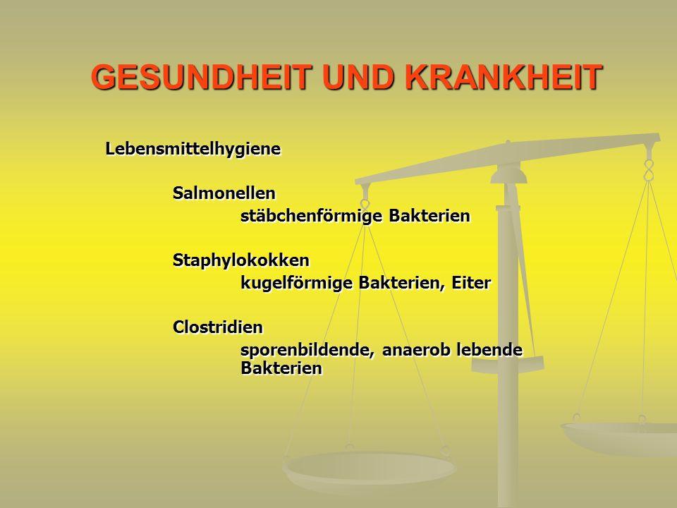 GESUNDHEIT UND KRANKHEIT LebensmittelhygieneSalmonellen stäbchenförmige Bakterien Staphylokokken kugelförmige Bakterien, Eiter Clostridien sporenbilde