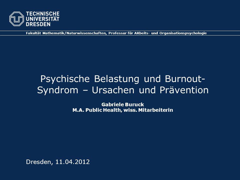 Fakultät Mathematik/Naturwissenschaften, Professur für ARbeits- und Organisationspsychologie Dresden, 11.04.2012 Psychische Belastung und Burnout- Syn