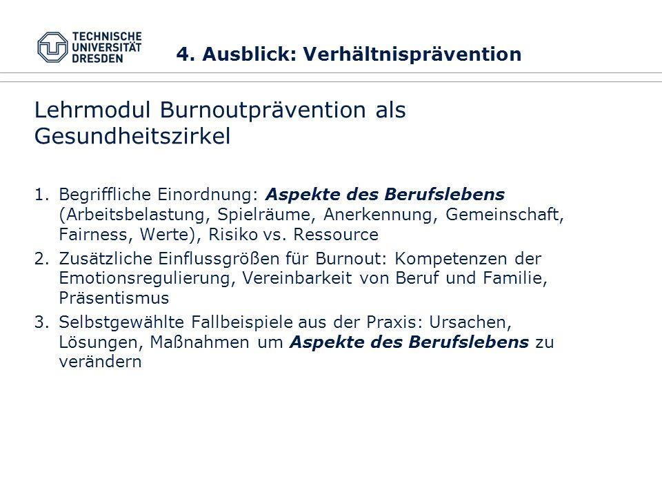 Lehrmodul Burnoutprävention als Gesundheitszirkel 1.Begriffliche Einordnung: Aspekte des Berufslebens (Arbeitsbelastung, Spielräume, Anerkennung, Geme