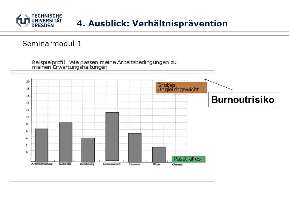 Burnoutrisiko Seminarmodul 1 4. Ausblick: Verhältnisprävention