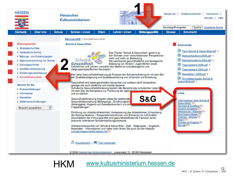 HKM www.kultusministerium.hessen.de 1 2 12 HKM | B. Zelazny, R. Weißgraeber | 2006 S&GS&G