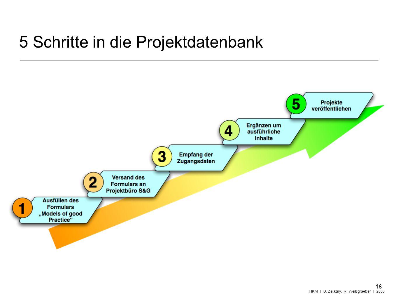 5 Schritte in die Projektdatenbank 18 HKM | B. Zelazny, R. Weißgraeber | 2006