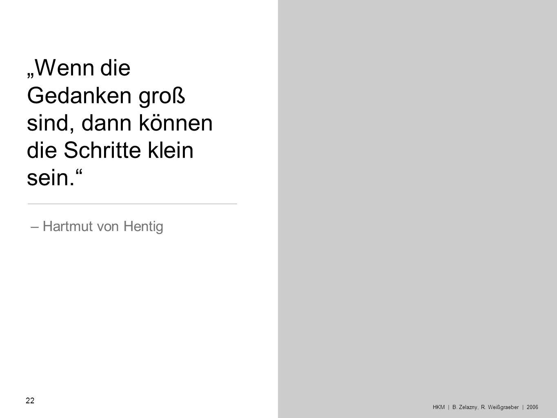 Wenn die Gedanken groß sind, dann können die Schritte klein sein. – Hartmut von Hentig HKM | B. Zelazny, R. Weißgraeber | 2006 22