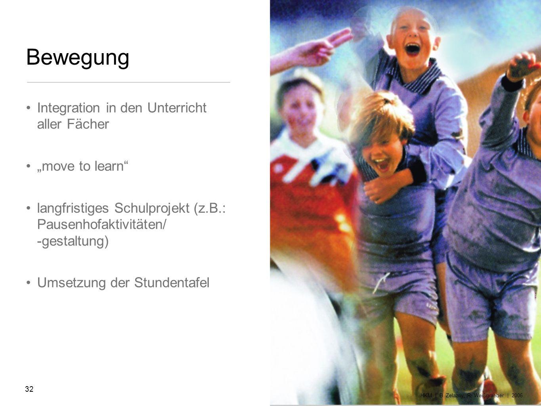 Bewegung Integration in den Unterricht aller Fächer move to learn langfristiges Schulprojekt (z.B.: Pausenhofaktivitäten/ -gestaltung) Umsetzung der S
