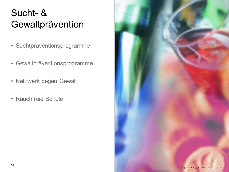 Sucht- & Gewaltprävention Suchtpräventionsprogramme Gewaltpräventionsprogramme Netzwerk gegen Gewalt Rauchfreie Schule HKM | B. Zelazny, R. Weißgraebe