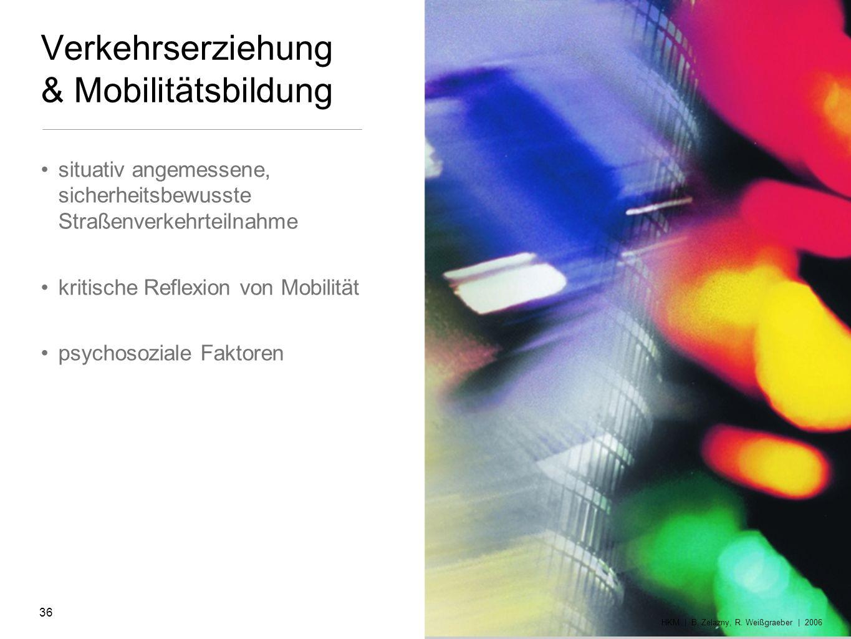 Verkehrserziehung & Mobilitätsbildung situativ angemessene, sicherheitsbewusste Straßenverkehrteilnahme kritische Reflexion von Mobilität psychosozial