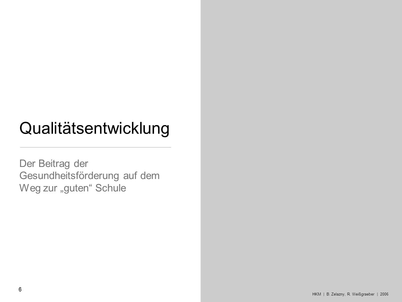 Qualitätsentwicklung Der Beitrag der Gesundheitsförderung auf dem Weg zur guten Schule 6 HKM | B. Zelazny, R. Weißgraeber | 2006