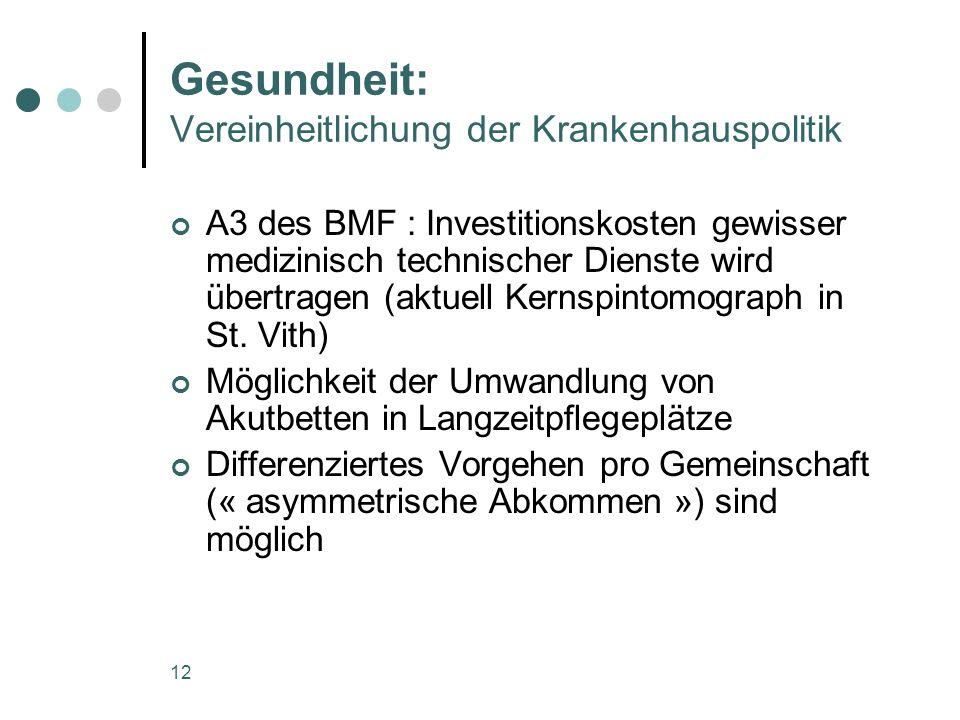 12 Gesundheit: Vereinheitlichung der Krankenhauspolitik A3 des BMF : Investitionskosten gewisser medizinisch technischer Dienste wird übertragen (aktuell Kernspintomograph in St.