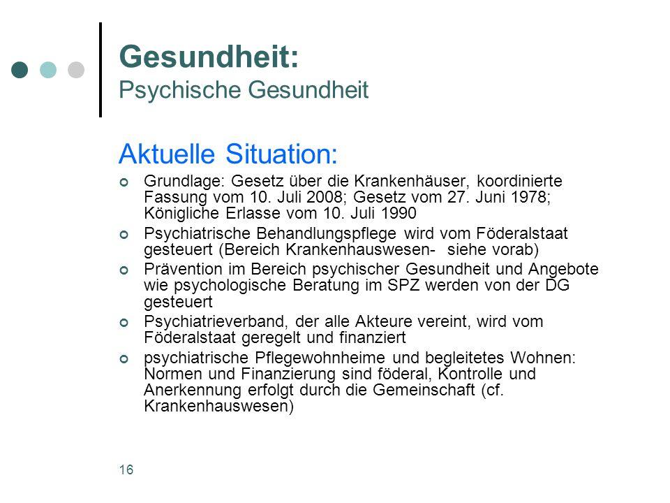16 Gesundheit: Psychische Gesundheit Aktuelle Situation: Grundlage: Gesetz über die Krankenhäuser, koordinierte Fassung vom 10. Juli 2008; Gesetz vom