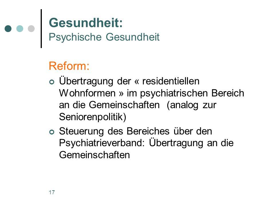 17 Gesundheit: Psychische Gesundheit Reform: Übertragung der « residentiellen Wohnformen » im psychiatrischen Bereich an die Gemeinschaften (analog zur Seniorenpolitik) Steuerung des Bereiches über den Psychiatrieverband: Übertragung an die Gemeinschaften