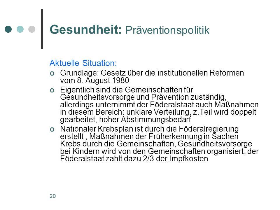 20 Gesundheit: Präventionspolitik Aktuelle Situation: Grundlage: Gesetz über die institutionellen Reformen vom 8. August 1980 Eigentlich sind die Geme