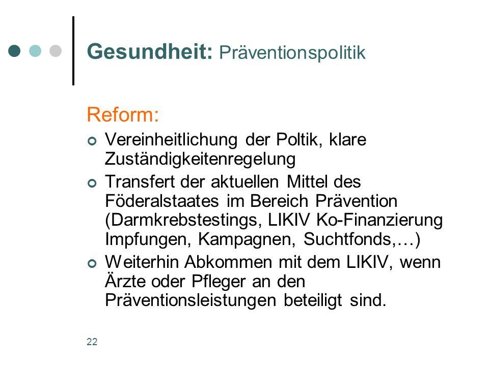 22 Gesundheit: Präventionspolitik Reform: Vereinheitlichung der Poltik, klare Zuständigkeitenregelung Transfert der aktuellen Mittel des Föderalstaate