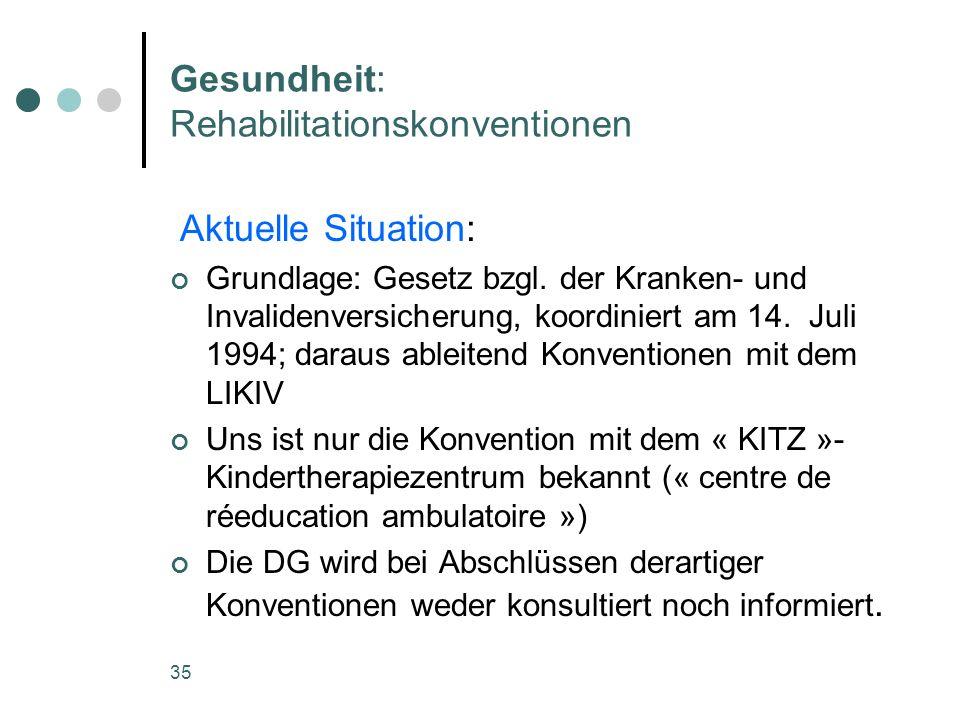 35 Gesundheit: Rehabilitationskonventionen Aktuelle Situation: Grundlage: Gesetz bzgl. der Kranken- und Invalidenversicherung, koordiniert am 14. Juli