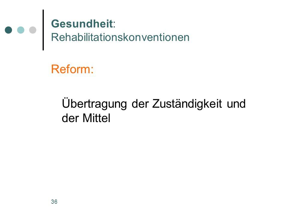 36 Gesundheit: Rehabilitationskonventionen Reform: Übertragung der Zuständigkeit und der Mittel