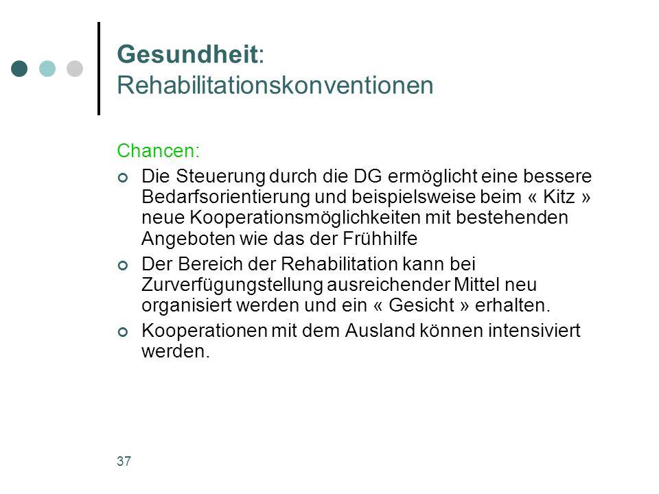 37 Gesundheit: Rehabilitationskonventionen Chancen: Die Steuerung durch die DG ermöglicht eine bessere Bedarfsorientierung und beispielsweise beim « K