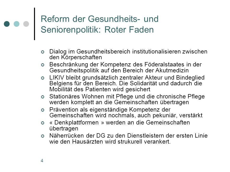 4 Reform der Gesundheits- und Seniorenpolitik: Roter Faden Dialog im Gesundheitsbereich institutionalisieren zwischen den Körperschaften Beschränkung