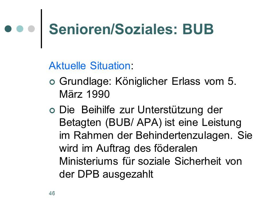 46 Senioren/Soziales: BUB Aktuelle Situation: Grundlage: Königlicher Erlass vom 5. März 1990 Die Beihilfe zur Unterstützung der Betagten (BUB/ APA) is