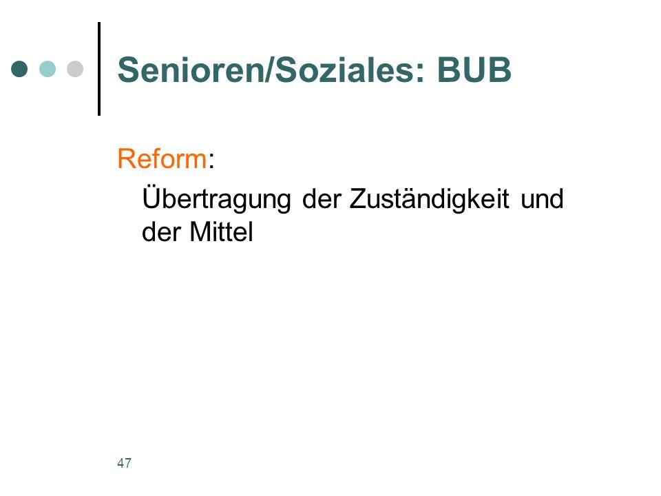 47 Senioren/Soziales: BUB Reform: Übertragung der Zuständigkeit und der Mittel