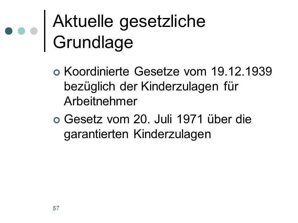 57 Aktuelle gesetzliche Grundlage Koordinierte Gesetze vom 19.12.1939 bezüglich der Kinderzulagen für Arbeitnehmer Gesetz vom 20. Juli 1971 über die g