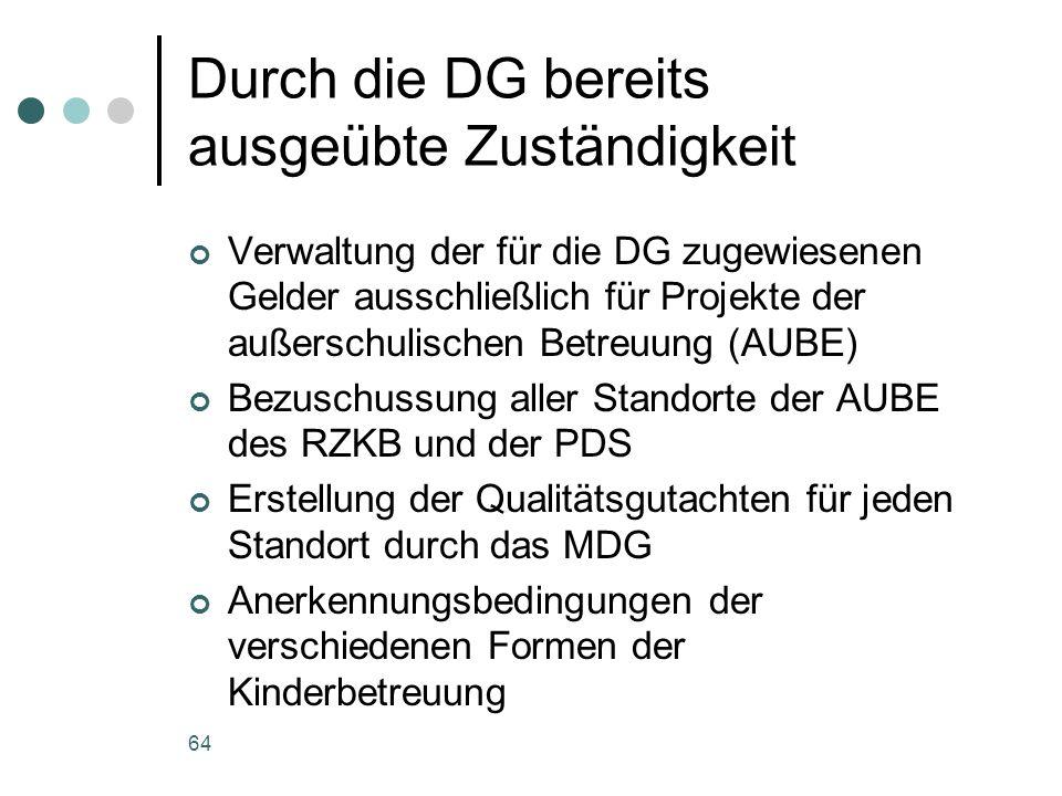 64 Durch die DG bereits ausgeübte Zuständigkeit Verwaltung der für die DG zugewiesenen Gelder ausschließlich für Projekte der außerschulischen Betreuu
