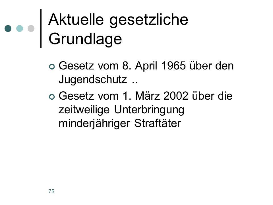 75 Aktuelle gesetzliche Grundlage Gesetz vom 8. April 1965 über den Jugendschutz.. Gesetz vom 1. März 2002 über die zeitweilige Unterbringung minderjä