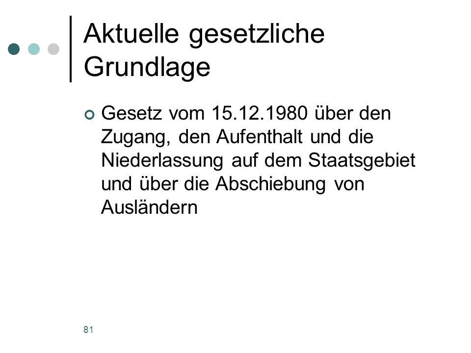 81 Aktuelle gesetzliche Grundlage Gesetz vom 15.12.1980 über den Zugang, den Aufenthalt und die Niederlassung auf dem Staatsgebiet und über die Abschiebung von Ausländern