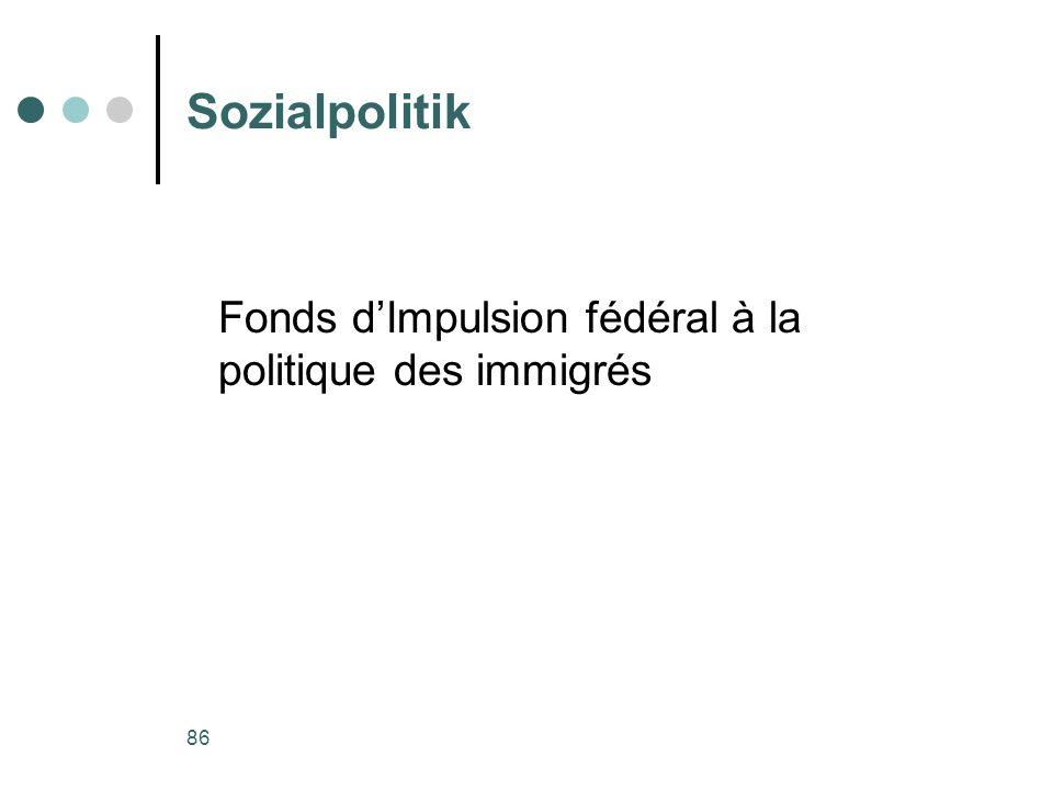 86 Sozialpolitik Fonds dImpulsion fédéral à la politique des immigrés