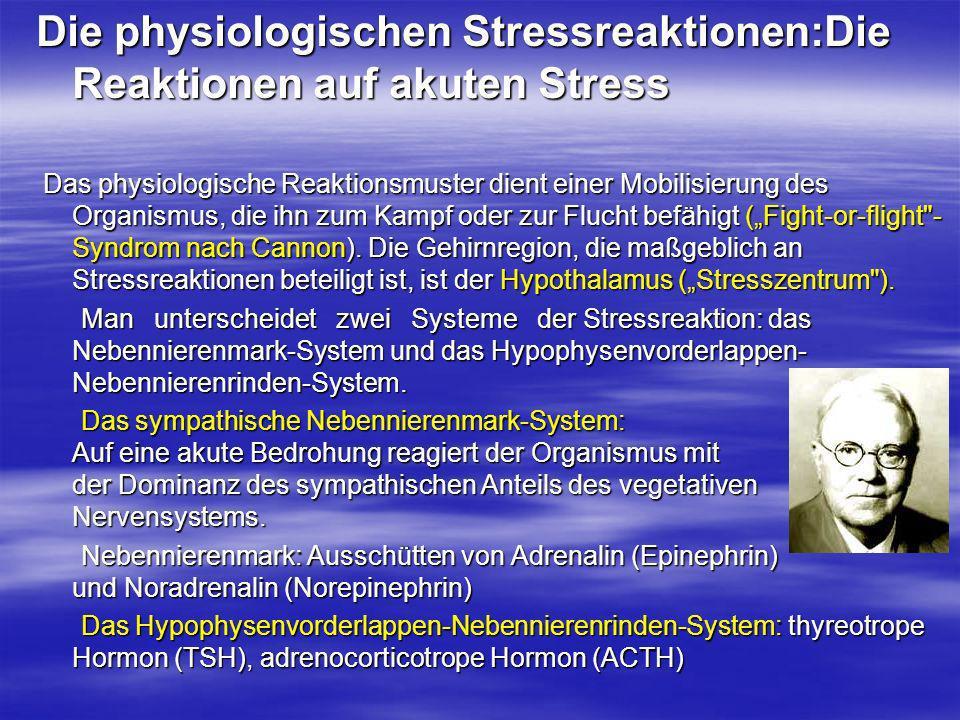 Die physiologischen Stressreaktionen:Die Reaktionen auf akuten Stress Das physiologische Reaktionsmuster dient einer Mobilisierung des Organismus, die