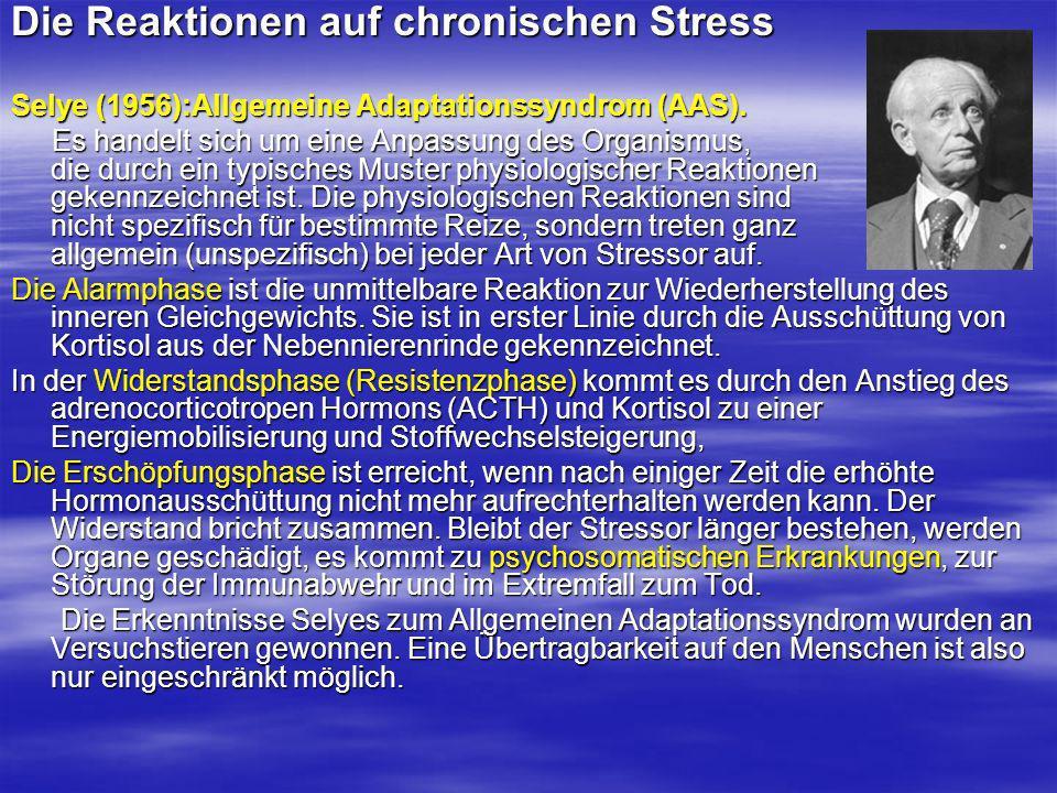 Die Reaktionen auf chronischen Stress Selye (1956):Allgemeine Adaptationssyndrom (AAS). Es handelt sich um eine Anpassung des Organismus, die durch ei