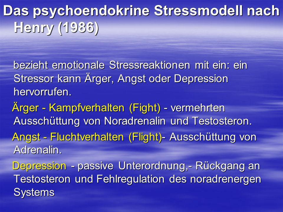 Das psychoendokrine Stressmodell nach Henry (1986) bezieht emotionale Stressreaktionen mit ein: ein Stressor kann Ärger, Angst oder Depression hervorr