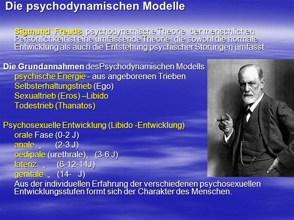 Die psychodynamischen Modelle Die psychodynamischen Modelle Sigmund Freuds psychodynamische Theorie der menschlichen Persönlichkeit ist eine umfassend