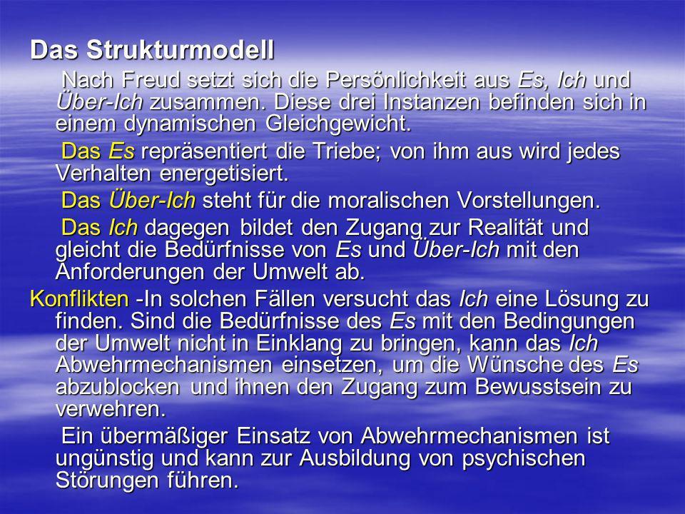 Das Strukturmodell Nach Freud setzt sich die Persönlichkeit aus Es, Ich und Über-Ich zusammen. Diese drei Instanzen befinden sich in einem dynamischen