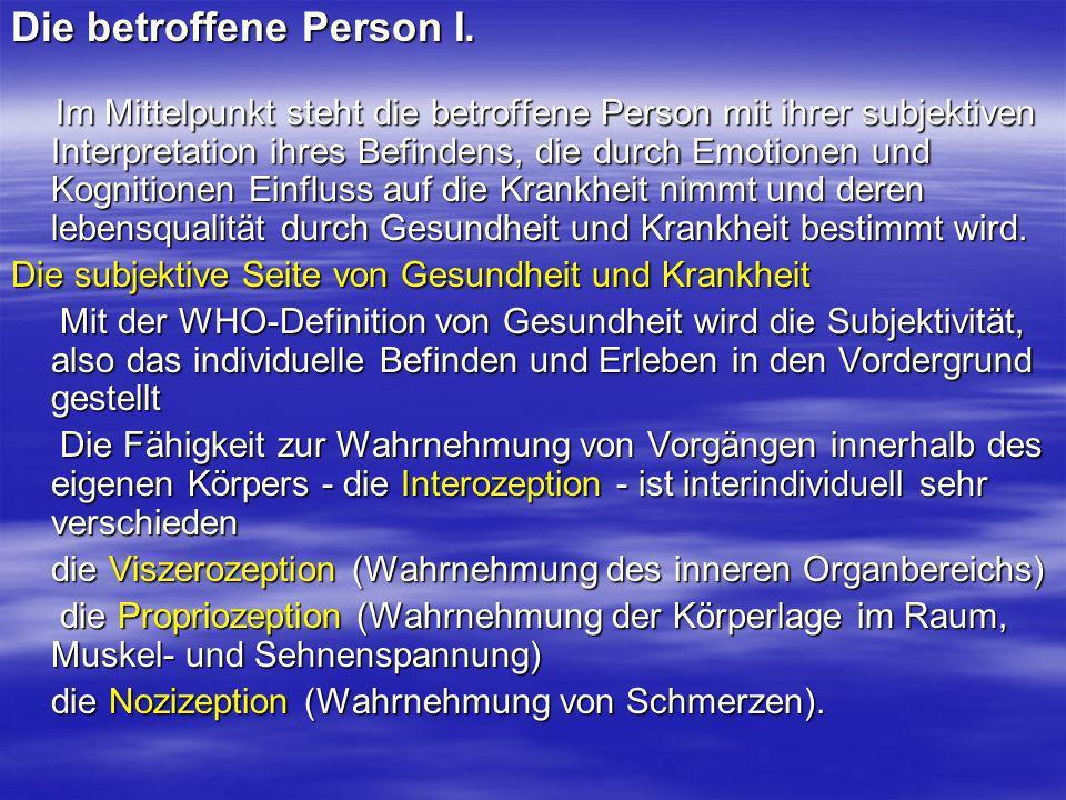 Die betroffene Person I. Im Mittelpunkt steht die betroffene Person mit ihrer subjektiven Interpretation ihres Befindens, die durch Emotionen und Kogn