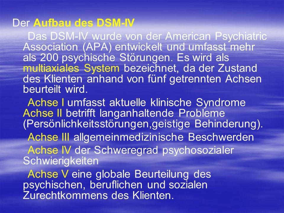 Der Aufbau des DSM-IV Das DSM-IV wurde von der American Psychiatric Association (APA) entwickelt und umfasst mehr als 200 psychische Störungen. Es wir