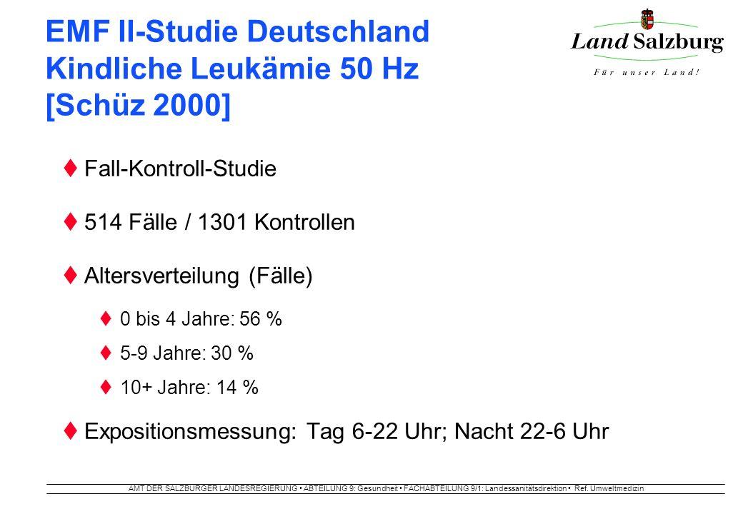 AMT DER SALZBURGER LANDESREGIERUNG ABTEILUNG 9: Gesundheit FACHABTEILUNG 9/1: Landessanitätsdirektion Ref. Umweltmedizin EMF II-Studie Deutschland Kin