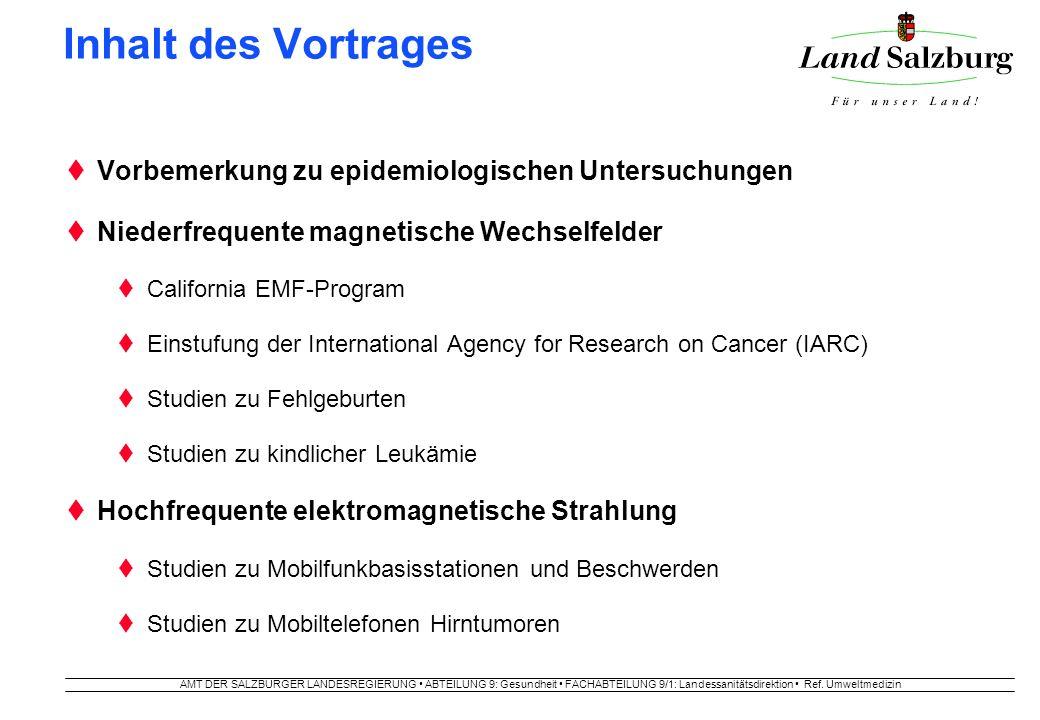 AMT DER SALZBURGER LANDESREGIERUNG ABTEILUNG 9: Gesundheit FACHABTEILUNG 9/1: Landessanitätsdirektion Ref. Umweltmedizin Inhalt des Vortrages Vorbemer