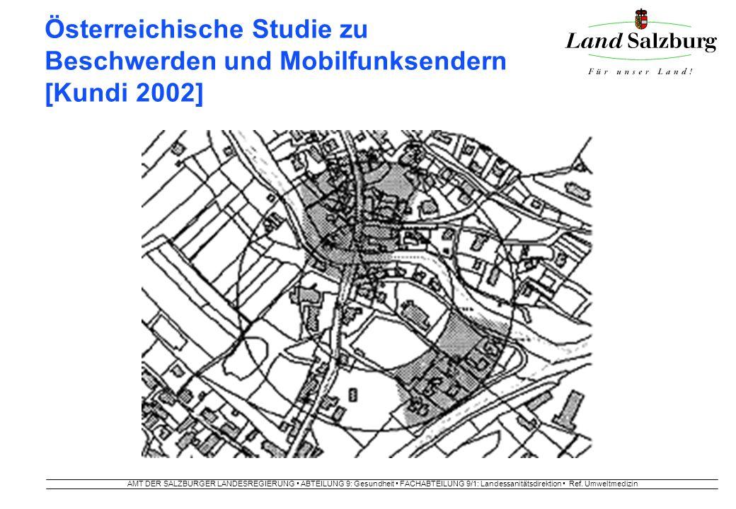 AMT DER SALZBURGER LANDESREGIERUNG ABTEILUNG 9: Gesundheit FACHABTEILUNG 9/1: Landessanitätsdirektion Ref. Umweltmedizin Österreichische Studie zu Bes