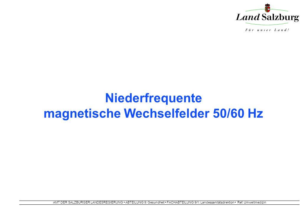 AMT DER SALZBURGER LANDESREGIERUNG ABTEILUNG 9: Gesundheit FACHABTEILUNG 9/1: Landessanitätsdirektion Ref. Umweltmedizin Niederfrequente magnetische W