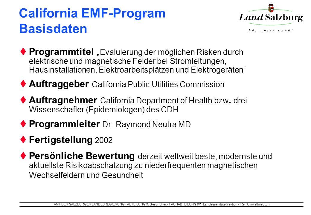 AMT DER SALZBURGER LANDESREGIERUNG ABTEILUNG 9: Gesundheit FACHABTEILUNG 9/1: Landessanitätsdirektion Ref. Umweltmedizin California EMF-Program Basisd