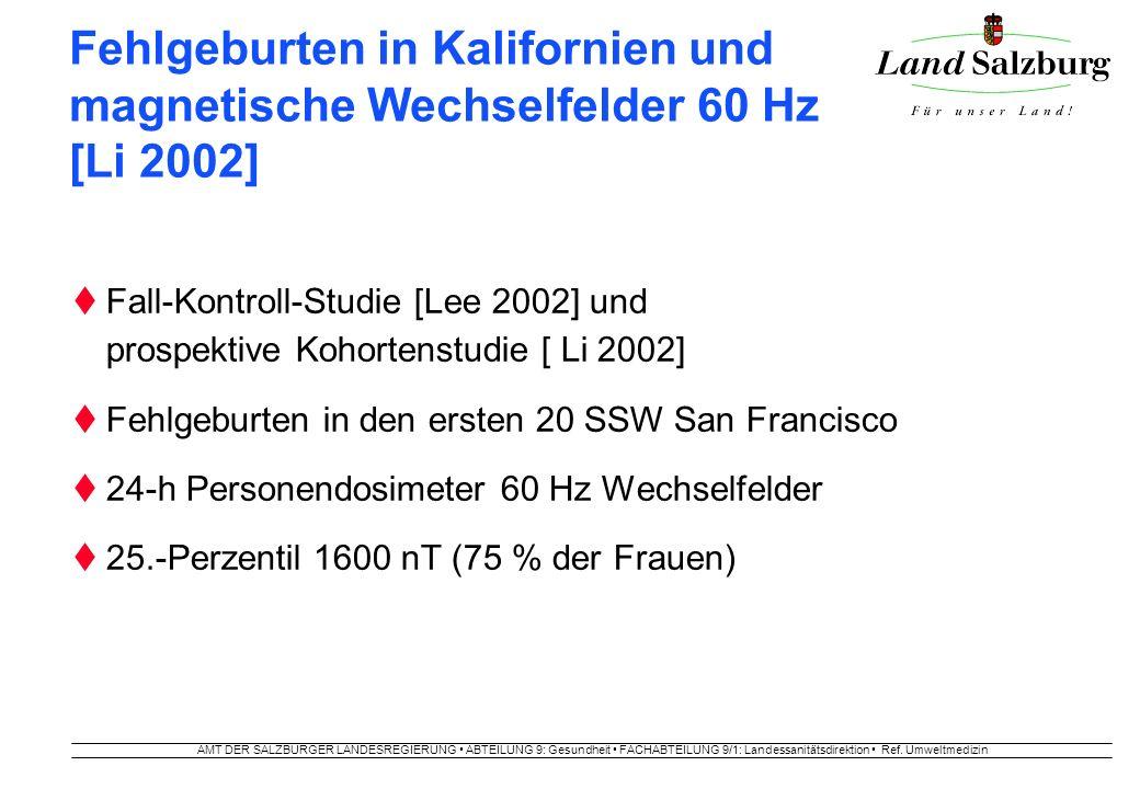 AMT DER SALZBURGER LANDESREGIERUNG ABTEILUNG 9: Gesundheit FACHABTEILUNG 9/1: Landessanitätsdirektion Ref. Umweltmedizin Fehlgeburten in Kalifornien u