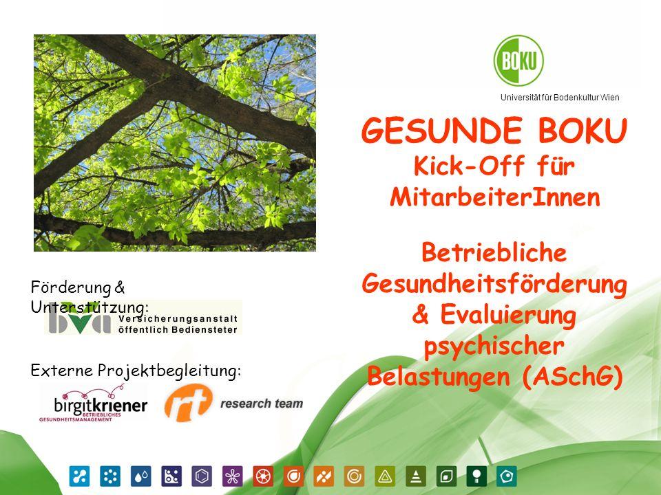 Universität für Bodenkultur Wien Gesunde BOKU 19.04.2014 1 GESUNDE BOKU Kick-Off für MitarbeiterInnen Betriebliche Gesundheitsförderung & Evaluierung