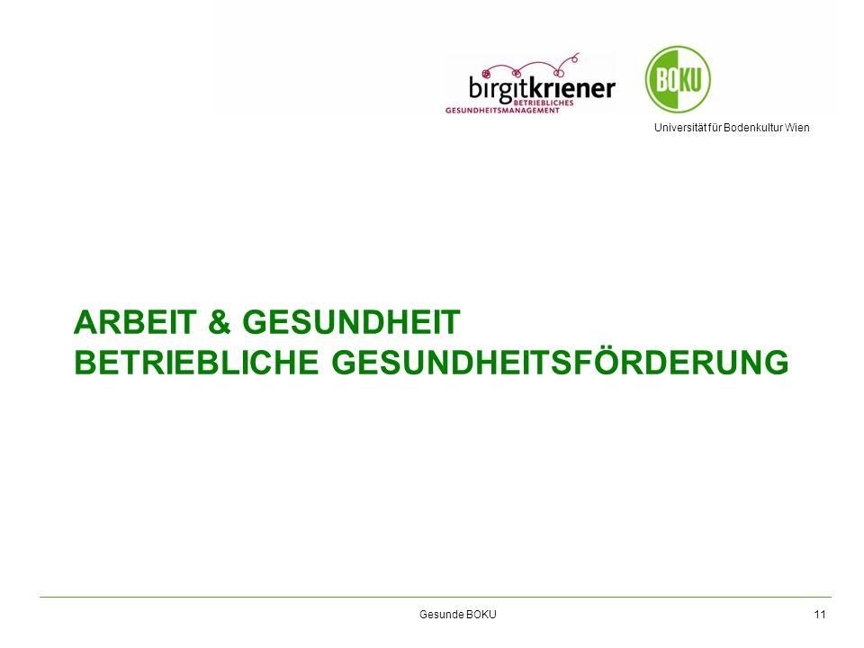 Universität für Bodenkultur Wien Gesunde BOKU ARBEIT & GESUNDHEIT BETRIEBLICHE GESUNDHEITSFÖRDERUNG 11