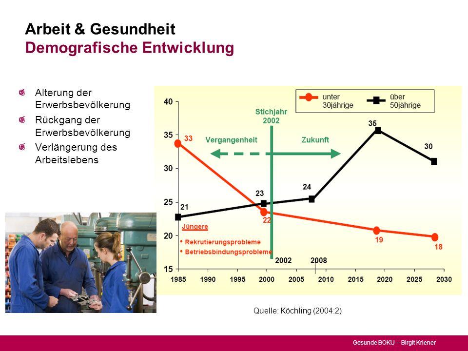 Gesunde BOKU – Birgit Kriener Arbeit & Gesundheit Demografische Entwicklung Alterung der Erwerbsbevölkerung Rückgang der Erwerbsbevölkerung Verlängeru