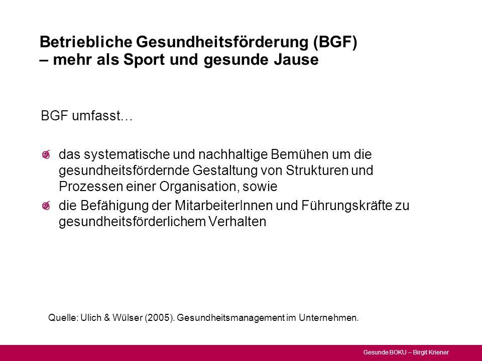 Gesunde BOKU – Birgit Kriener Betriebliche Gesundheitsförderung (BGF) – mehr als Sport und gesunde Jause Quelle: Ulich & Wülser (2005). Gesundheitsman