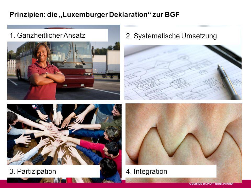 Gesunde BOKU – Birgit Kriener Prinzipien: die Luxemburger Deklaration zur BGF 2. Systematische Umsetzung 4. Integration3. Partizipation 1. Ganzheitlic