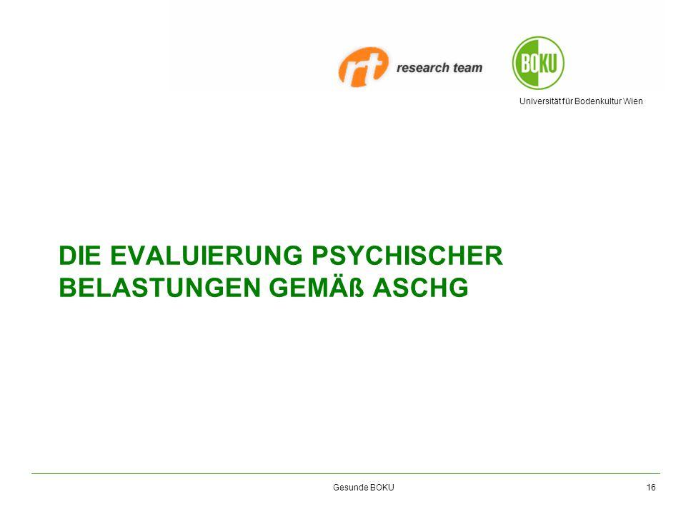Universität für Bodenkultur Wien Gesunde BOKU DIE EVALUIERUNG PSYCHISCHER BELASTUNGEN GEMÄß ASCHG 16