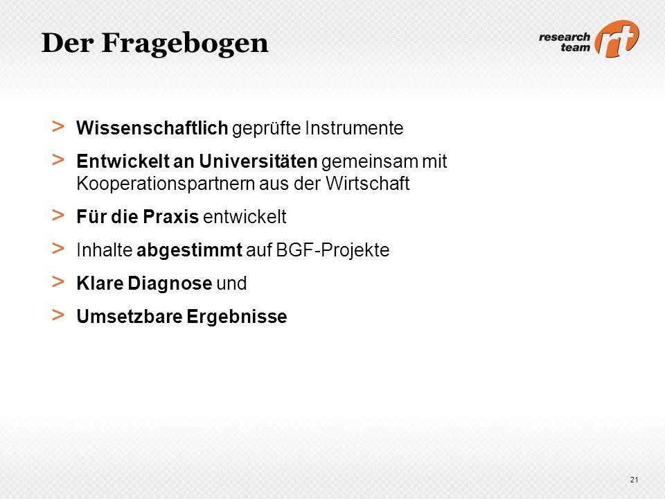 Der Fragebogen > Wissenschaftlich geprüfte Instrumente > Entwickelt an Universitäten gemeinsam mit Kooperationspartnern aus der Wirtschaft > Für die P